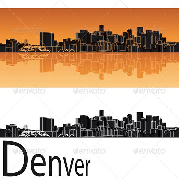 Denver Skyline in Orange Background