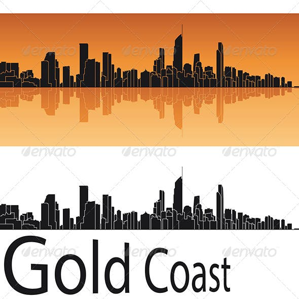 Gold Coast Skyline in Orange Background