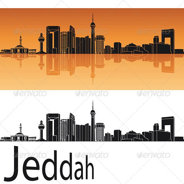 Jeddah Skyline in Orange Background