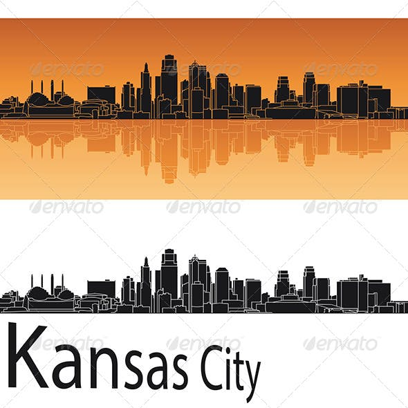 Kansas City Skyline in Orange Background