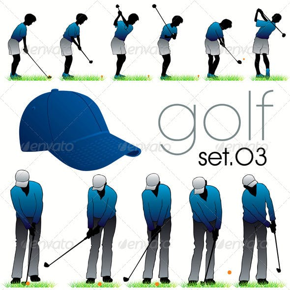 Golf Players Silhouettes Set In Phases
