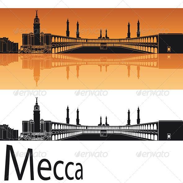 Mecca Skyline in Orange Background