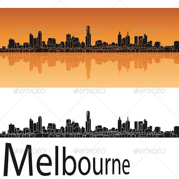 Melbourne Skyline in Orange Background