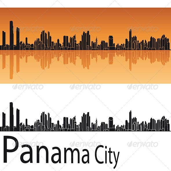 Panama City Skyline in Orange Background