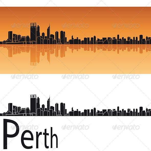 Perth Skyline in Orange Background