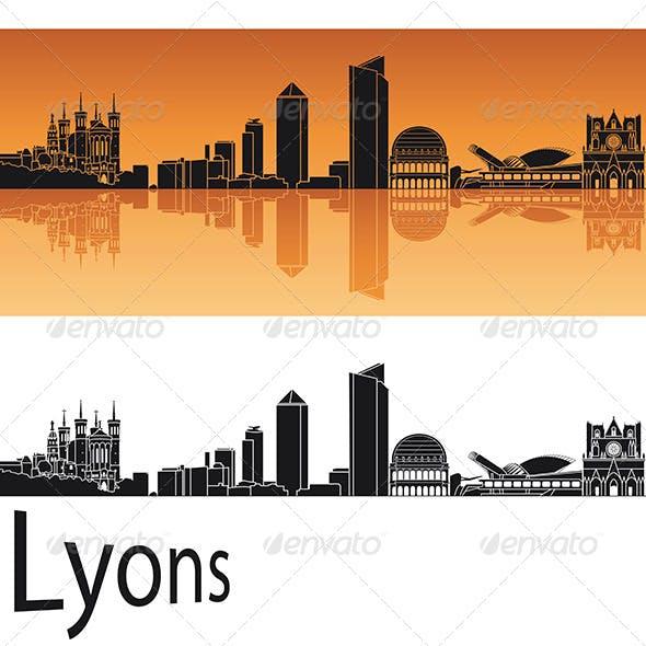 Lyons Skyline in Orange Background