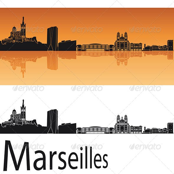 Marseilles Skyline in Orange Background