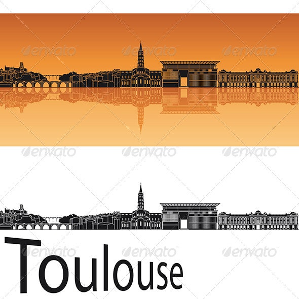Toulouse Skyline in Orange Background - Buildings Objects