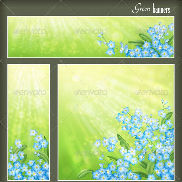 Green Banners Set with Flowers