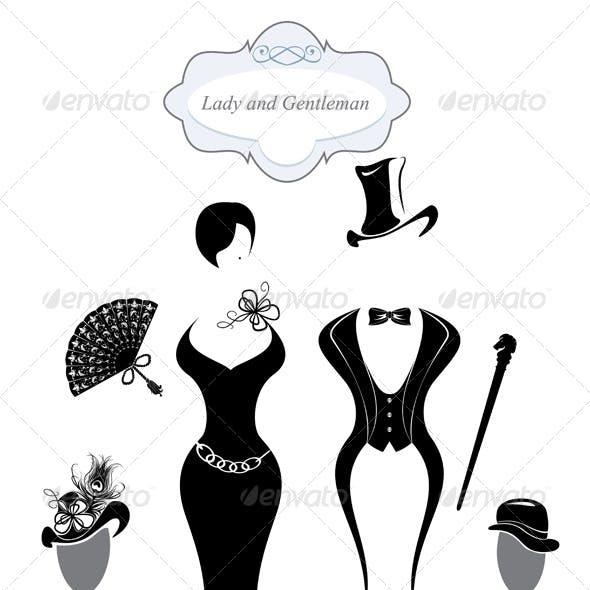 Vintage Gentleman and Lady Symbols