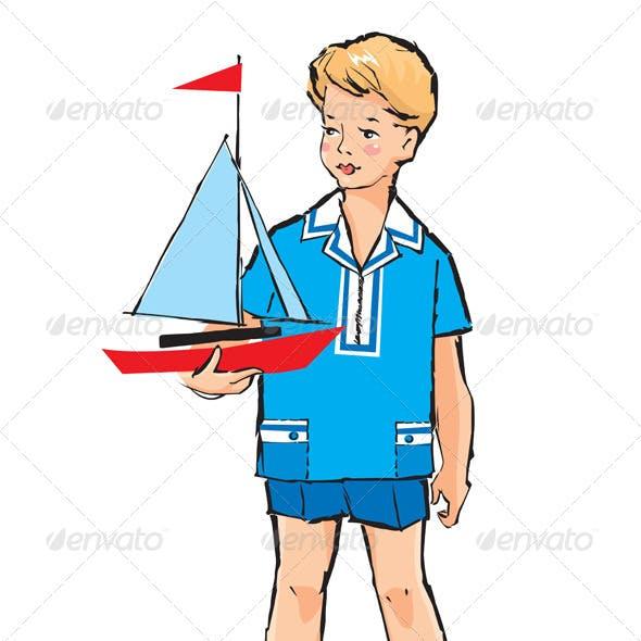 Pretty Boy with Boat Sketch