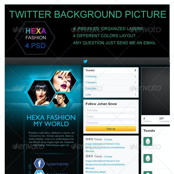 Hexa Fashion Twitter Background Picture