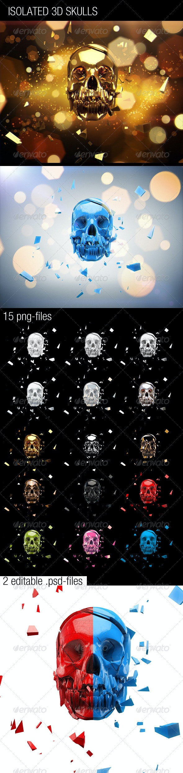 15 Isolated 3D Skulls - Objects 3D Renders