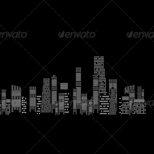 Cities Silhouette on Black Background