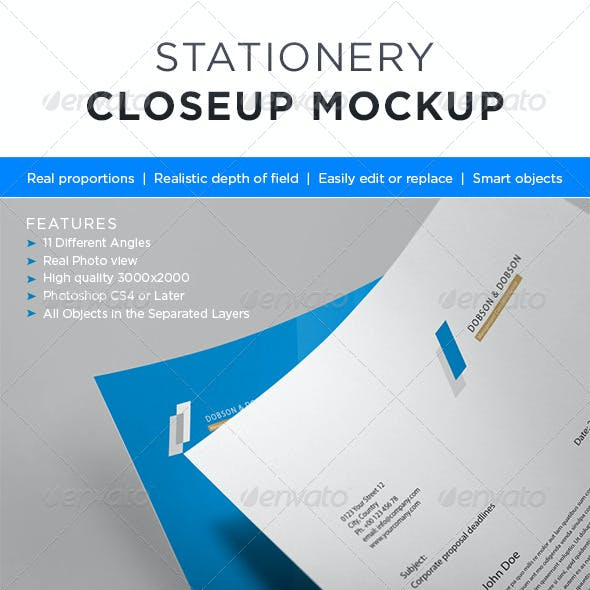 Photorealistic Stationery Closeup Mock-up