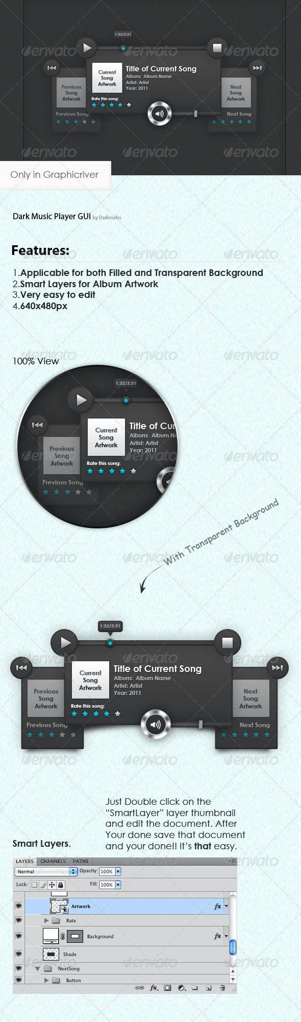 Dark Music Player GUI - User Interfaces Web Elements