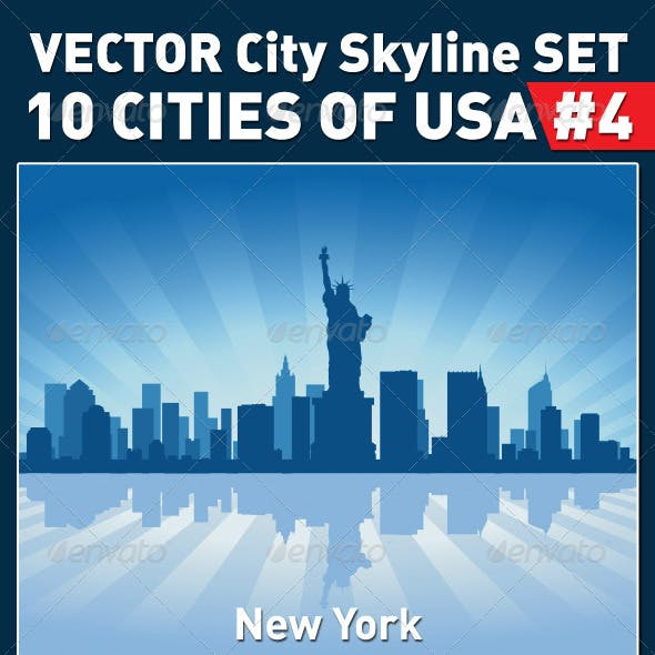 Vector City Skyline Set. USA #4