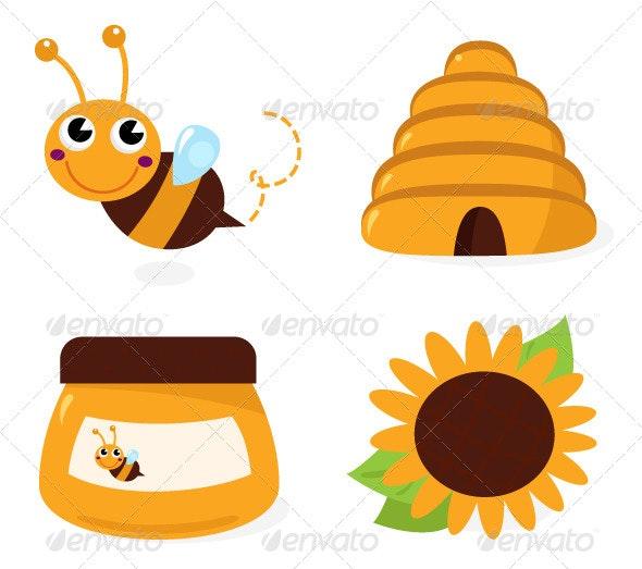 Bee and Honey Icons Set Isolated on White - Seasons Nature