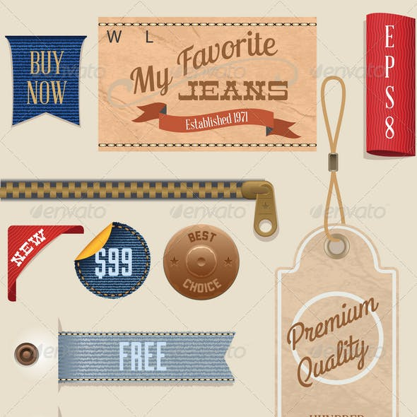 Jeans Labels and Tags Set