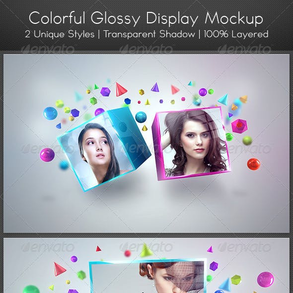 Colorful Glossy Display Mockup