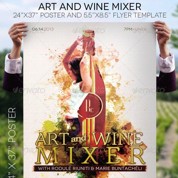 Art Wine Mixer Poster Flyer Template