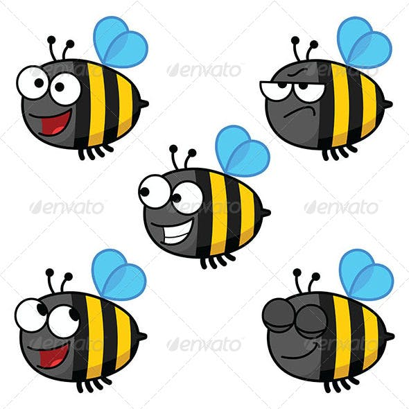 Set of Cartoon Bees-Colored