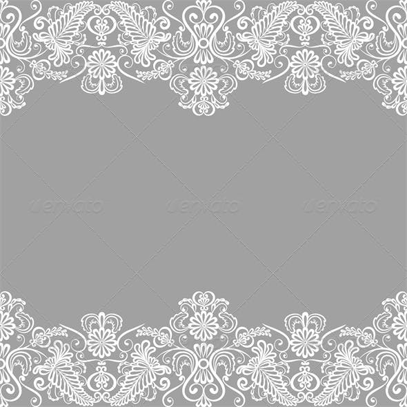 Wedding Invitation or Greeting Card with Lace Bord