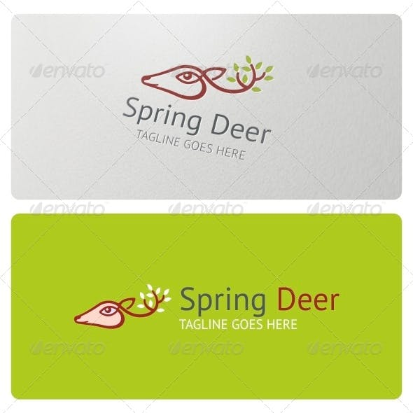 Spring Deer Logo Template