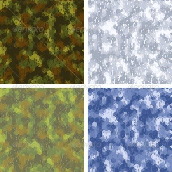 Seamless Stylized Camouflage Patterns