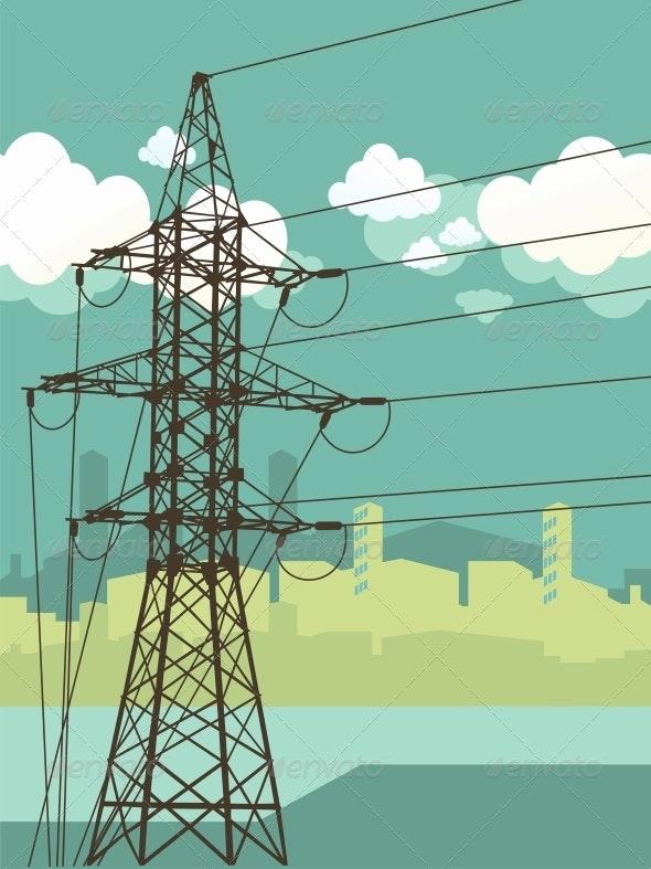 High Voltage Tower on Urban Background - Industries Business