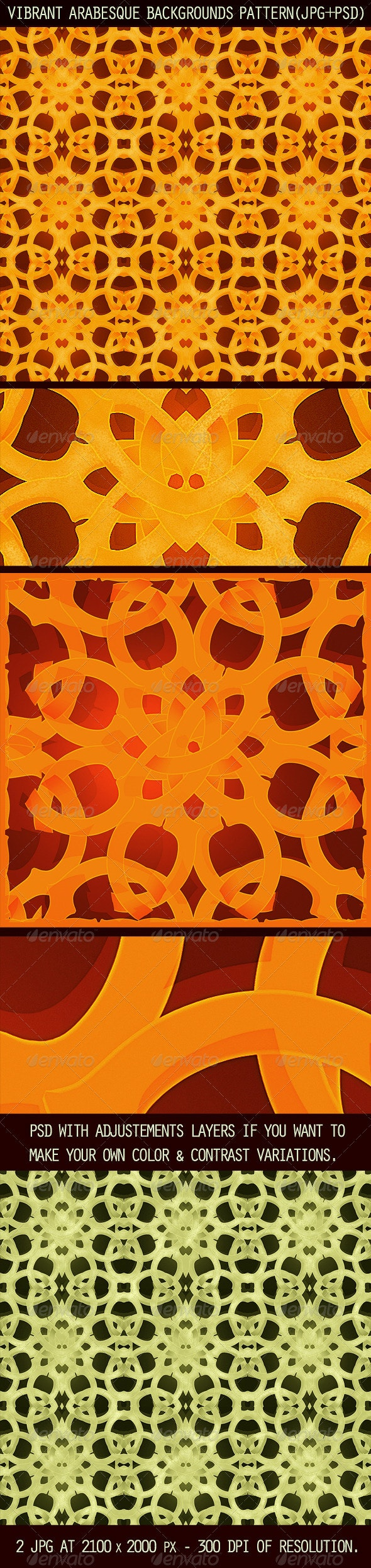 2 Vibrant Arabesque Background Patterns - Patterns Decorative