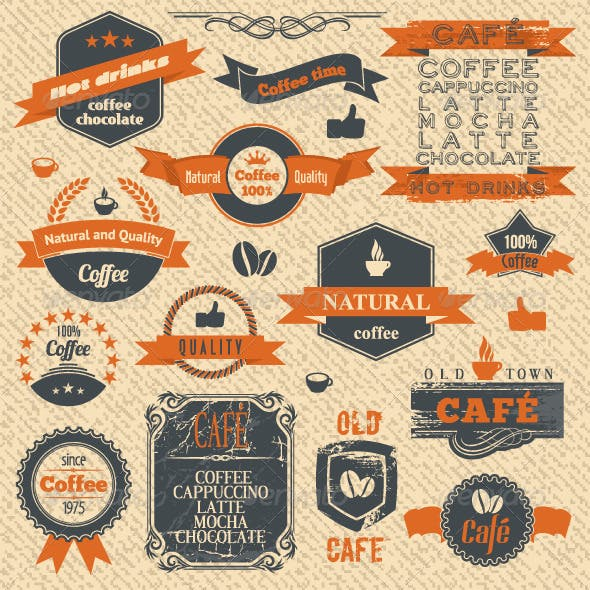 Vector Coffee Stamps and Label Design Backgrounds