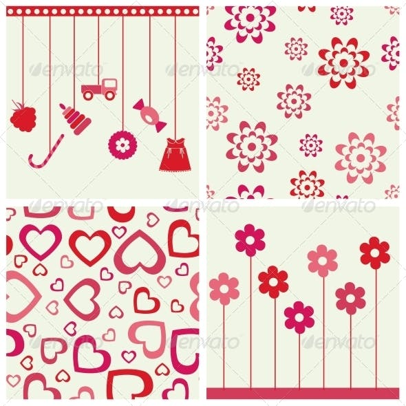 Flowers and Heart Set