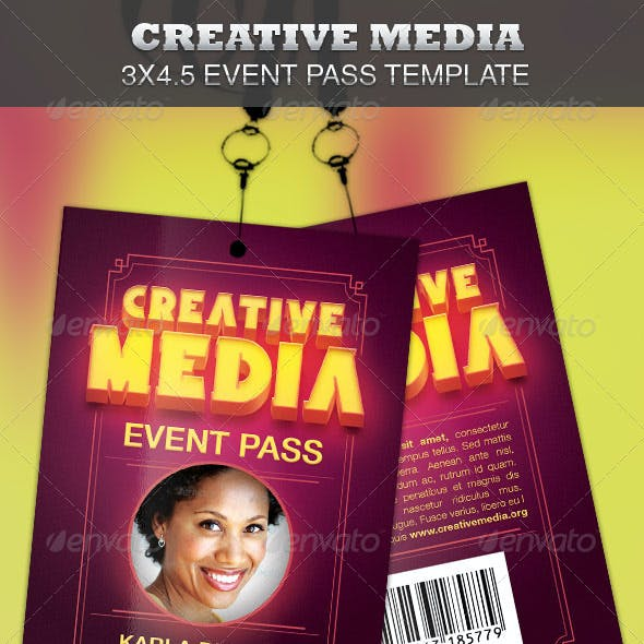 Creative Media Event Pass Template