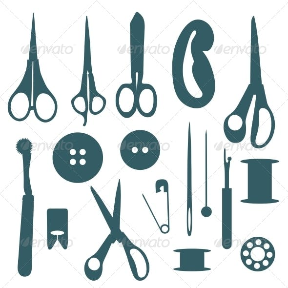 Sewing Objects Silhouettes Set.