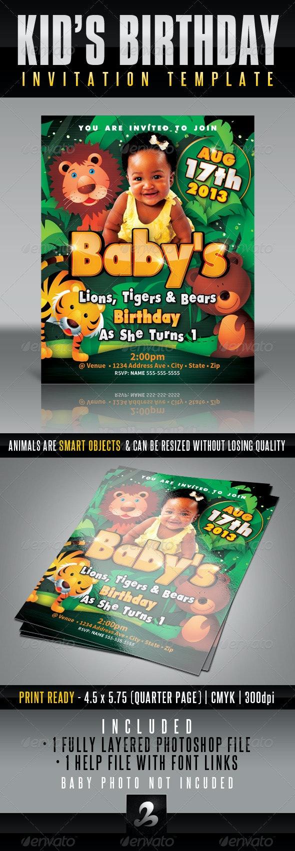 Kid's Birthday Invitation - Lions, Tigers & Bears - Invitations Cards & Invites