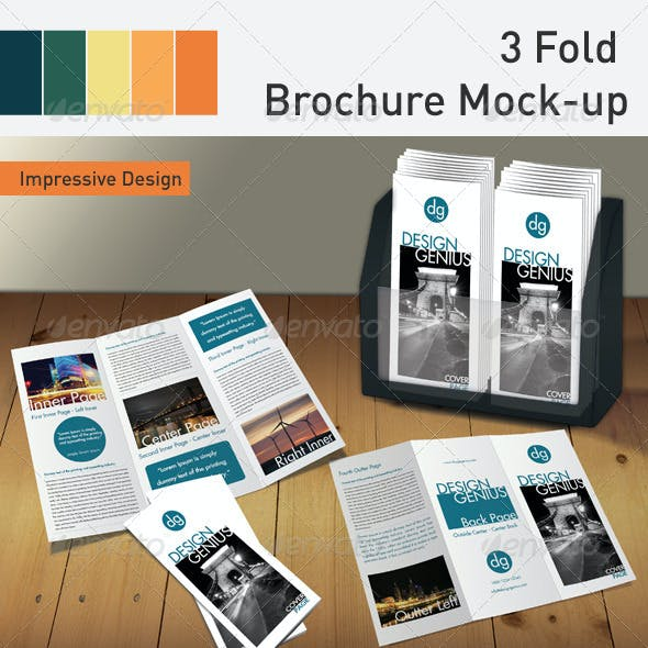 3 Fold Brochure Mockup