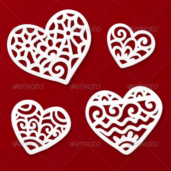 Vector Cut Out Paper Lacy Hearts