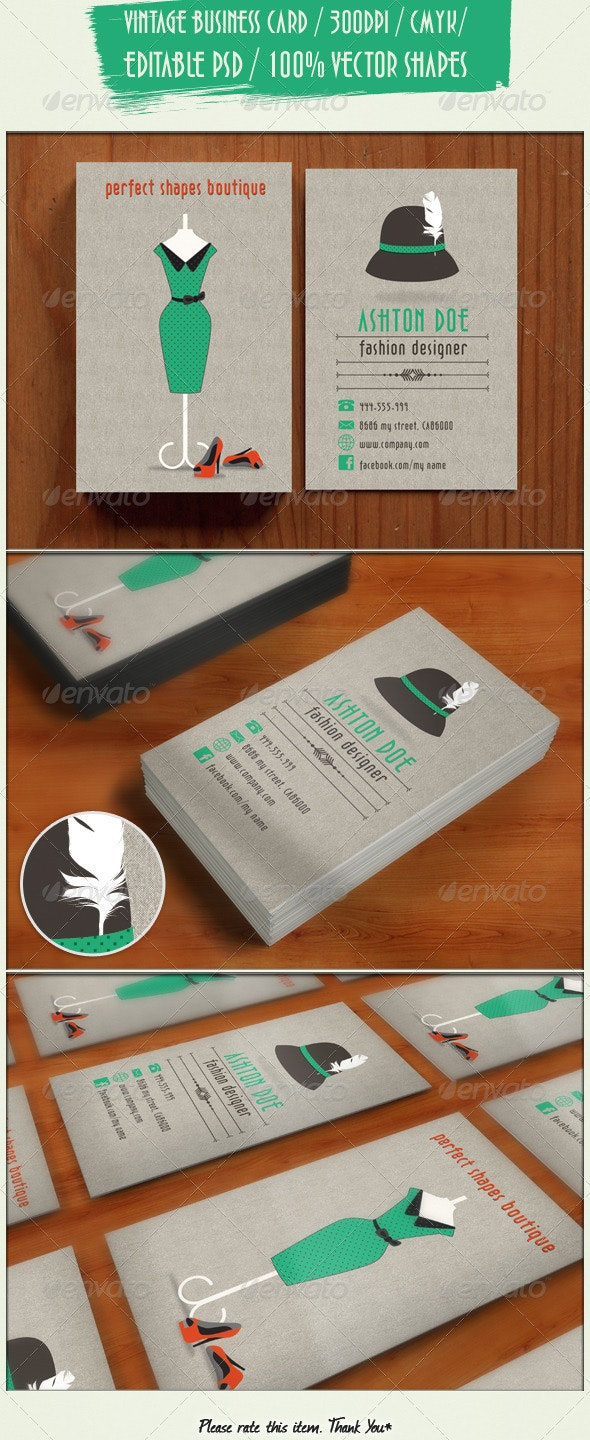 Retro Fashion Business Card By Balazsrenata Graphicriver