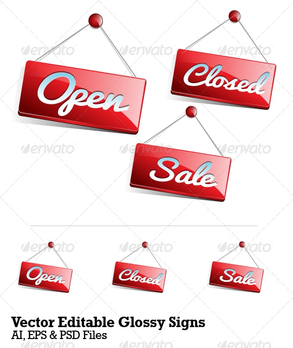 Vector Editable Glossy Signs - Man-made Objects Objects