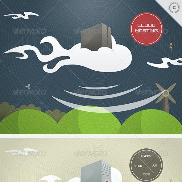 Cloud Hosting Technology Illustration