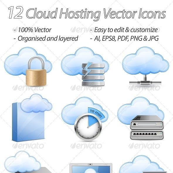 12 Cloud Hosting Vector Icons
