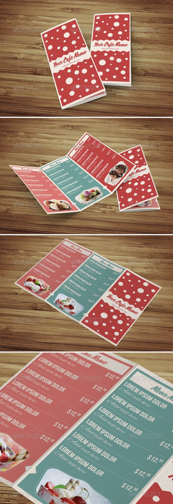 Sweet Shop and Ice Cream Trifold PSD Menu Template