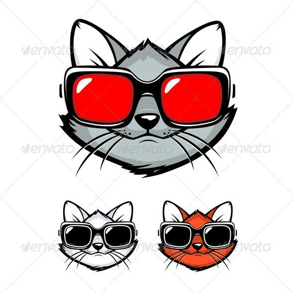 Cartoon Cat Face with Sunglasses