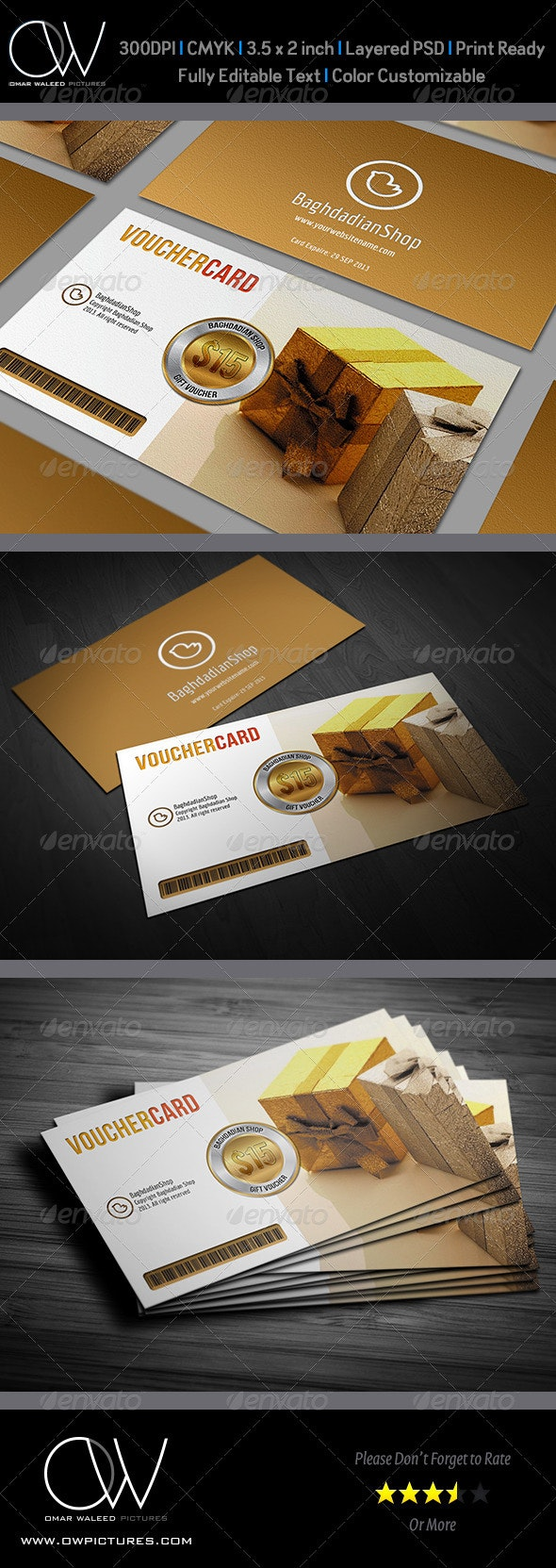 Gift / Voucher Card Vol.3 - Cards & Invites Print Templates