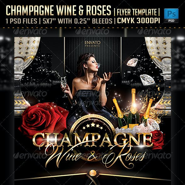 Champagne Wine & Roses Flyer Template