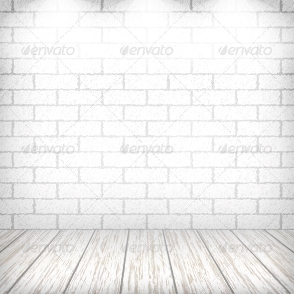 White Brick Wall with Wooden Floor and Spotlights