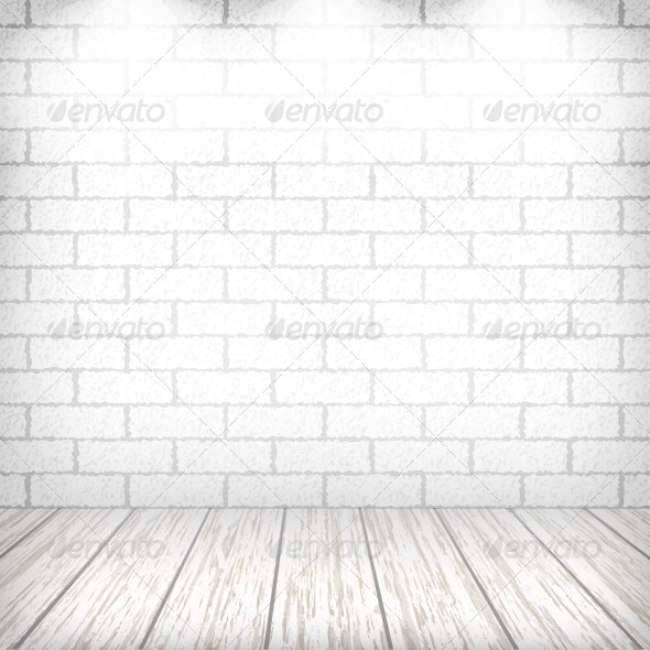 White Brick Wall with Wooden Floor and Spotlights - Backgrounds Decorative