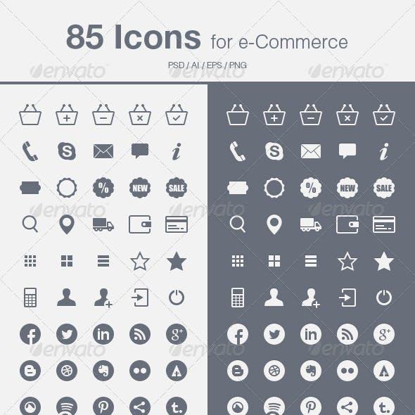 85 e-Commerce Icons