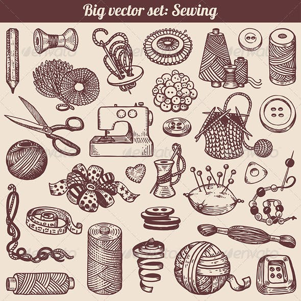 Sewing and Needlework Vector Set